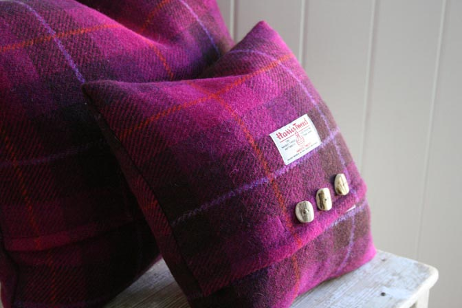 Wild Foxglove Harris Tweed Cushion (Small)