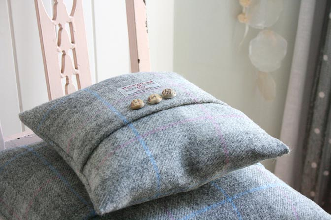 Dove Dawn Harris Tweed Cushion (Small)