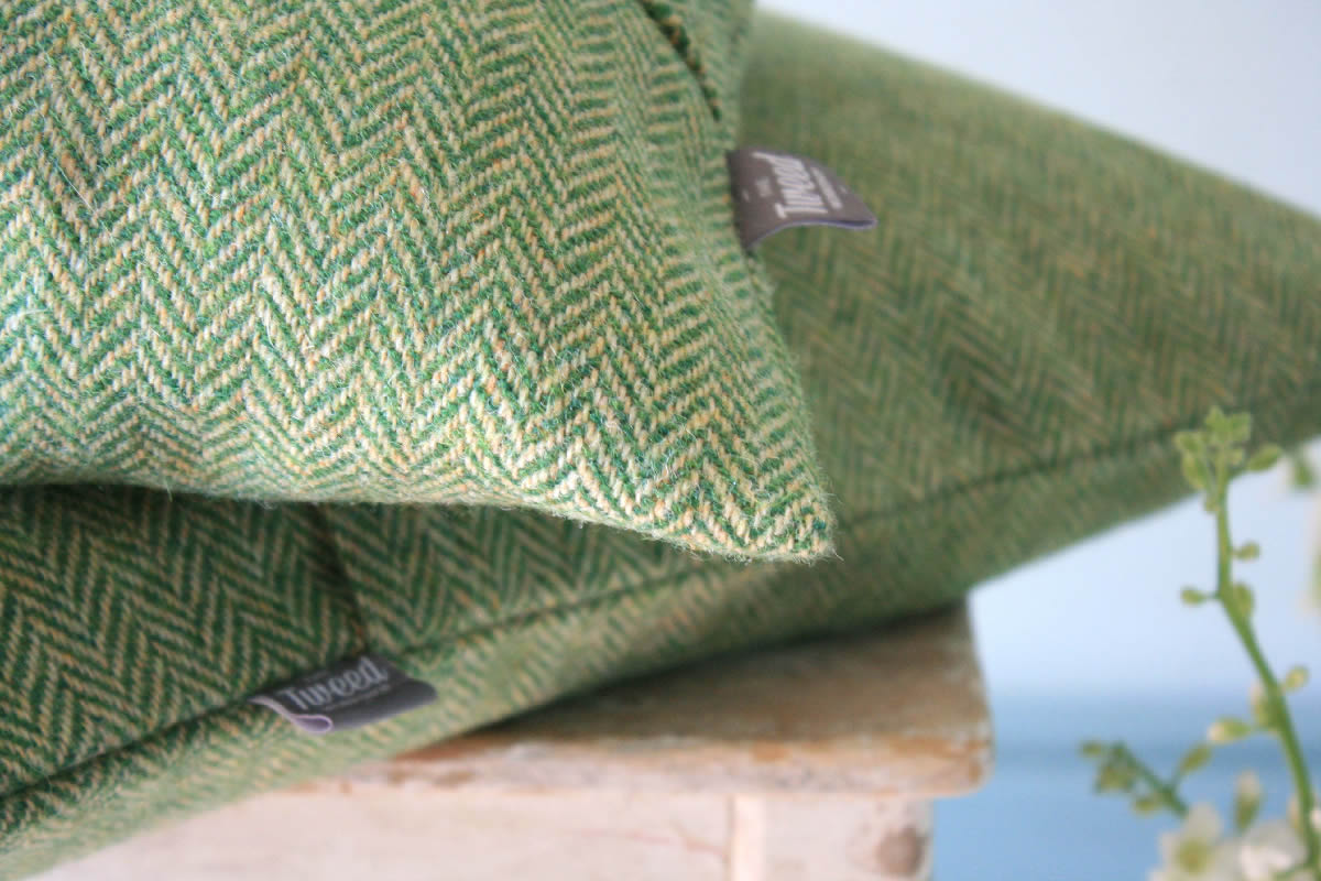 Green Herringbone Harris Tweed Cushion The Tweed