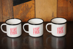 The Stay Free enamel mug